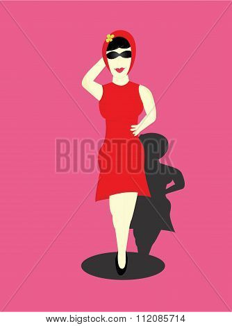 the woman dressed in red