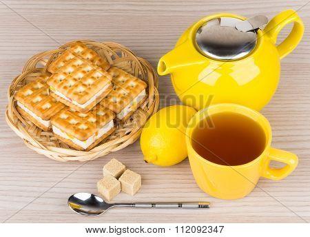Cup Of Tea, Biscuits, Lemon And Lumpy Sugar