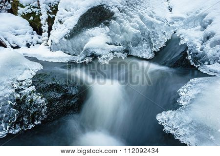 Frozen Creek With Snow And Ice