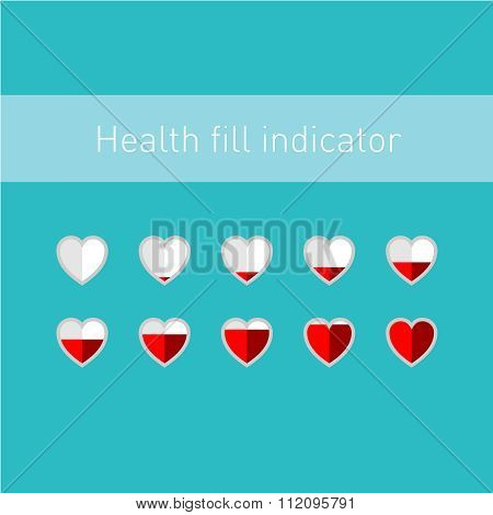 Heart Fill Indicator Scale With 10 Animation Frames