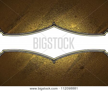 Texture Of Gold With White Plate. Element For Design. Template For Design. Copy Space For Ad Brochur