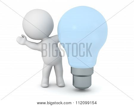 3D Character Waving From Behind Clear Light Bulb