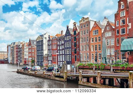"""Beautiful views of the streets ancient buildings people embankments of Amsterdam - also call """"Venice in the North"""". Netherland poster"""