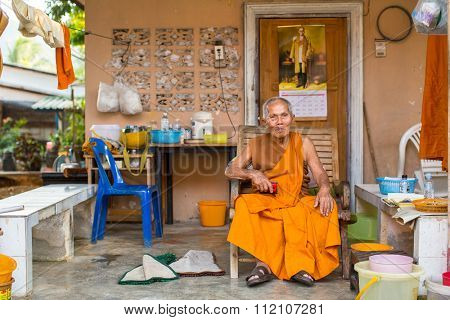 KO CHANG - THAILAND - DEC 20, 2015: Unidentified local monk. The island is part of marine national Park Mu Ko Chang. Ko Chang population of 5356 people living in 8 villages.