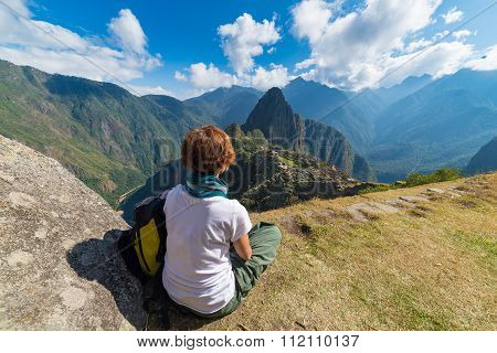 Tourist Looking At Machu Picchu From Above, Peru
