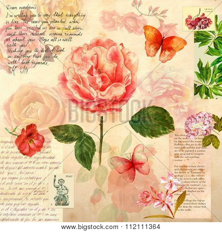 Vintage style collage with roses, butterflies and text scraps