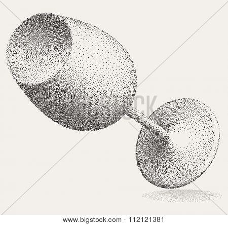 Wine Glass Stipple Effect Vector Art