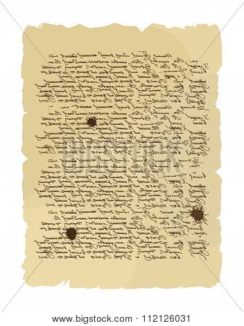 Ancient Letter. Archaic Order. Abstract Messy Handwriting. Old Mint Order Paper. Very Old Document.