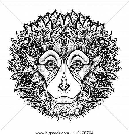 Psychedelic monkey head tattoo. zentangle style