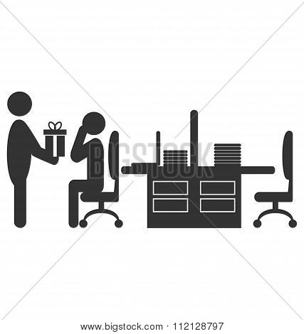 Flat office icon with giving gift worker isolated on white