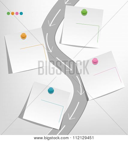 Infographic elements paper note with pins on gray