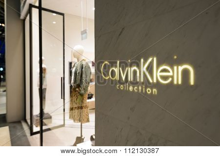 SINGAPORE - NOVEMBER 08, 2015: Calvin Klein store in The Shoppes at Marina Bay Sands. Calvin Klein Inc. is an American fashion house founded by the fashion designer Calvin Klein