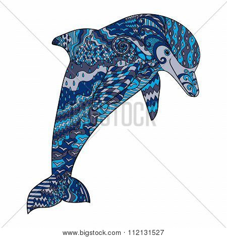 Color hand drawn doodle dolphin.