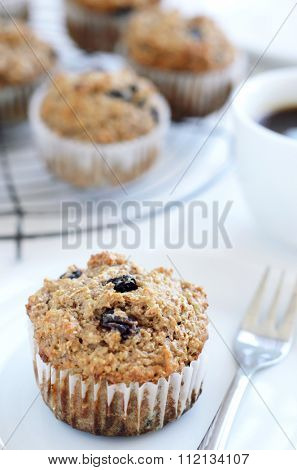 Healthy wholewheat bran muffin, a nutritious and fiber rich breakfast