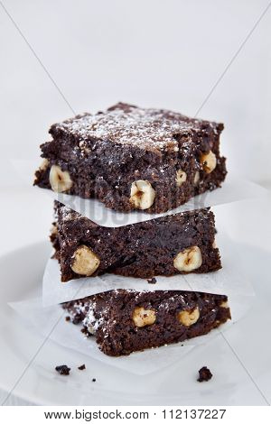 Decadent pieces of cocoa chocolate brownies dessert treat
