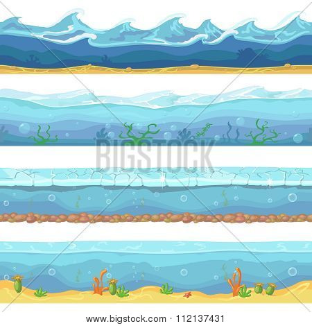 Water waves  or ocean, sea seamless vector backgrounds set for ui game design in cartoon style. Grap