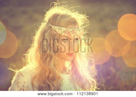 Enchanting Bride on Nature Background