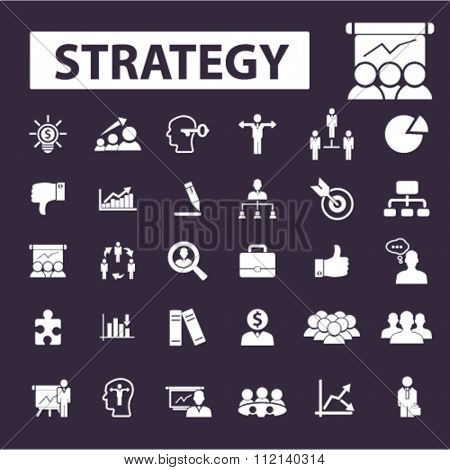 Strategy  icons, strategy concept, business strategy, strategical decision signs vector concept set for infographics, mobile, website, application