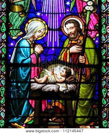 Nativity Scene At Christmas In Montserrat Abbey