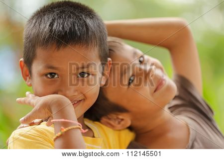 SATUN, THAILAND, DECEMBER 09, 2011 : Portrait of Thai kids in a social school orphanage in Satun, Thailand.