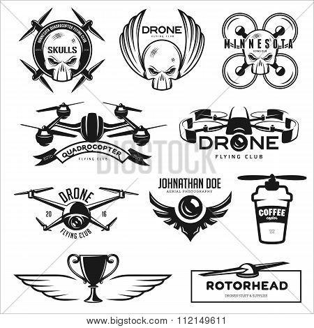 Vector set of drone flying club labels, badges, design elements.
