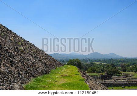 Grassy Pathway And Closeup Of Pyramid's Wall At Teotihuacan