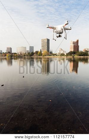 A Drone Quadcopter Hoovers Over Lake Merritt Oakland California