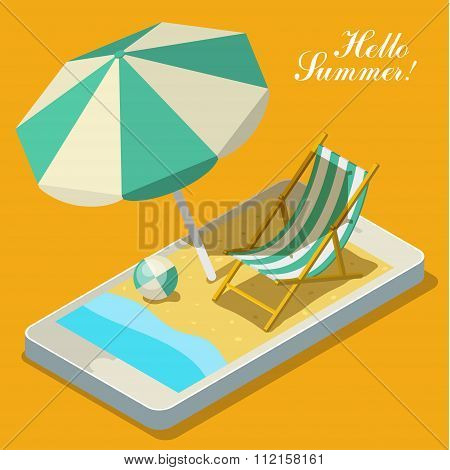 Vacation with mobile phone concept