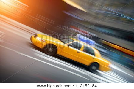 New York taxi in motion