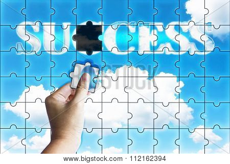 Business Concept Successful, Hand Fulfil Word Success On Sky Background