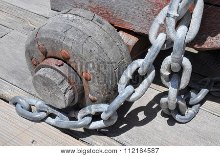Chainlink and Wooden Wheel