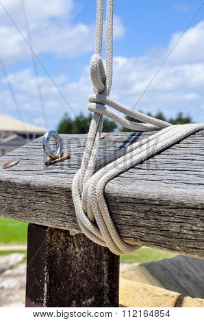 Flag Lines on Wooden Post