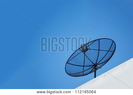 Antenna Communication Satellite Dish   With Blue Sky