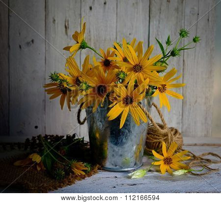 Bouquet Of Yellow  Flowers In Pot