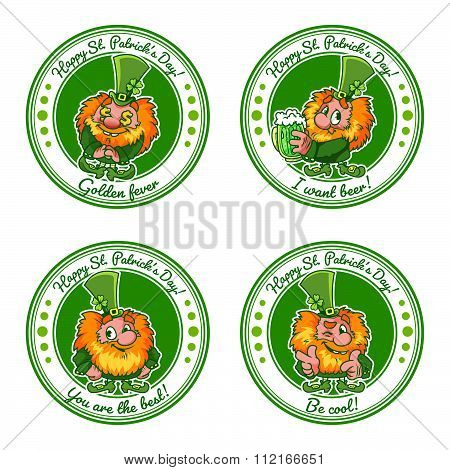 Set Of Four Round Stickers With Leprechauns For St. Patrick's Day With A Positive Text.