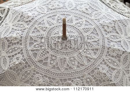 Handmade White Lace Umbrella, Close Up