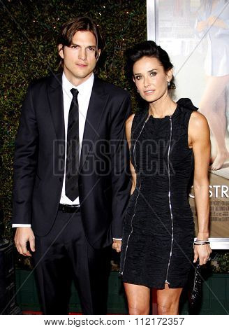 HOLLYWOOD, CALIFORNIA - January 11, 2010. Ashton Kutcher and Demi Moore at the Los Angeles premiere of