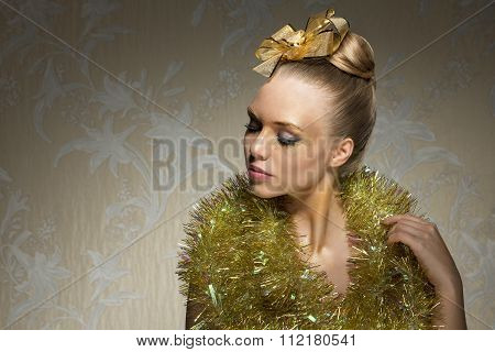Woman With Shiny Christmas Style