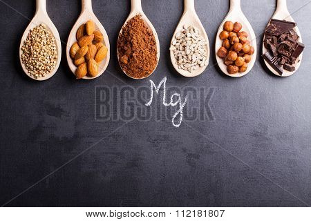 Products rich in magnesium on wooden spoons. poster