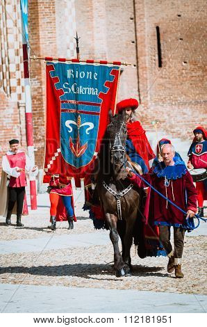 Palio, Parade Of Medieval Knight On Horseback
