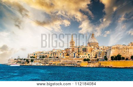 scenic View of Marsamxett Harbour and Valletta in Malta at sunset