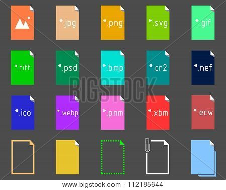 Set of Image File Extension icons