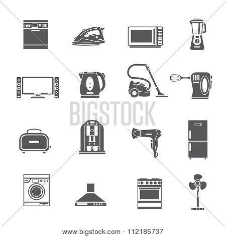 Black Household Appliances Icons Set