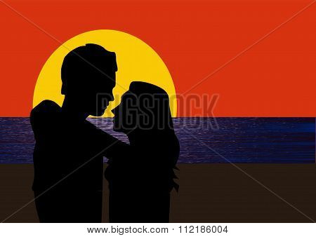 Romantic Couple Embracing At Sunset