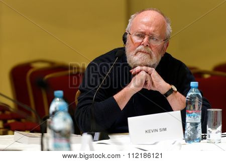 ST. PETERSBURG, RUSSIA - DECEMBER 16, 2015: British film director Kevin Sim in the film studio Lendoc during the round table discussion of 4th St. Petersburg International Cultural Forum