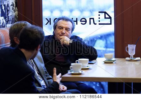 ST. PETERSBURG, RUSSIA - DECEMBER 16, 2015: Film director Alexey Uchitel in the cafe of the film studio Lendoc before the round table discussion during 4th St. Petersburg International Cultural Forum