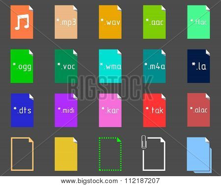 Set of icons on the theme of audio file extension poster