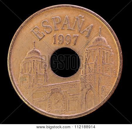 Head Of 25 Pesetas Coin, Issued By Spain In 1997 Depicting Towered Buildings