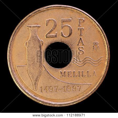 Tail Of 25 Pesetas Coin, Issued By Spain In 1997 Depicting An Ancient Amphora