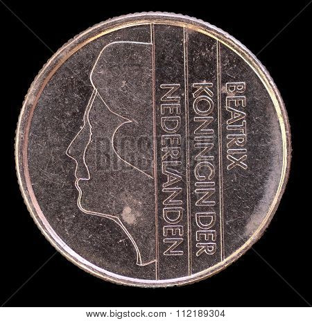 Head Of 25 Cents Of Guilder Coin, Issued By Netherlands In 1985 Depicting The Portrait Of The Prince
